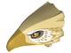 Part No: 38832pb02  Name: Bird Head Upper Jaw with Metallic Gold Beak and White and Metallic Gold Feathers Pattern (Thunderbird)
