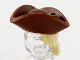 Part No: 67043pb02  Name: Minifigure, Hair Combo, Hair with Hat, Long Hair with Ponytail and Reddish Brown Tricorne Hat Pattern