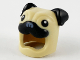 Part No: 73662pb01  Name: Minifigure, Headgear Head Cover, Costume Pug Dog with Black Ears, Eyes and Muzzle Pattern