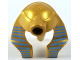 Part No: 90462pb05  Name: Minifigure, Headgear Headdress Mummy (Type 2) with Thin Medium Blue Stripes on Metallic Gold Pattern