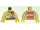 Part No: 973pb0391ac01  Name: Torso Adventurers Desert Safari Shirt, Yellow Neck, Red Bandana, Gun - LEGO Logo on Back Pattern / Tan Arms / Yellow Hands