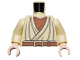 Part No: 973pb0471c01  Name: Torso SW Layered Shirt Old Obi-Wan Light Nougat Neck, Brown Belt Pattern / Tan Arms / Light Nougat Hands