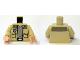 Part No: 973pb0612c01  Name: Torso SW Shirt Open with Pockets and Gray T-Shirt Pattern (Captain Antilles) / Tan Arms / Light Flesh Hands