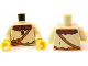 Part No: 973pb0914c01  Name: Torso Castle Kingdoms Peasant Shirt with Brown Collar and Shoulder Bag Pattern / Tan Arms / Yellow Hands