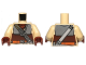Part No: 973pb1225c01  Name: Torso Armor Plates, Reddish Brown Waist Sash and Ammunition Belt Pattern (SW Boushh) / Tan Arms / Reddish Brown Hands