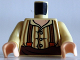 Part No: 973pb1326c01  Name: Torso LotR Button Shirt with Dark Tan Stripes and Brown and Dark Orange Suspenders Pattern / Tan Arms / Light Flesh Hands