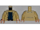 Part No: 973pb1392c01  Name: Torso Jacket with 2 Buttons, Dark Blue Shirt and Belt Pattern / Tan Arms / Light Flesh Hands