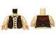 Part No: 973pb1451c01  Name: Torso Shirt with Buttons and Brown Western Style Vest Pattern / Tan Arms / Light Flesh Hands