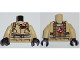 Part No: 973pb1696c01  Name: Torso Ghostbusters Jumpsuit with 'P.V.' ID Badge and 'PETER' on Reverse Pattern / Tan Arms / Black Hands