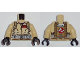 Part No: 973pb1698c01  Name: Torso Ghostbusters Jumpsuit with 'E.S.' ID Badge and 'EGON' on Reverse Pattern / Tan Arms / Black Hands