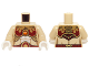 Part No: 973pb1719c01  Name: Torso Female with Dark Red and Gold Armor with Scales and Orange Round Jewel (Fire Chi) Pattern / Tan Arms / White Hands