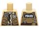 Part No: 973pb1820  Name: Torso Police Shirt Dark Tan Vest with Pockets, Radio, Badge, Sunglasses, Brown Belt and 'POLICE' Pattern on Back
