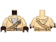 Part No: 973pb2205c01  Name: Torso SW Hooded Shirt over Light Bluish Gray Undershirt and Dark Tan Straight and Diagonal Belts with Pockets Pattern / Tan Arms / Dark Brown Hands