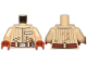 Part No: 973pb3233c01  Name: Torso SW Jacket with Vertical Stripes, Reddish Brown Belt, Badge with Alien Letters Pattern (Quarrie) / Tan Arms / Dark Orange Hands