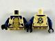 Part No: 973pb3590c01  Name: Torso Female Jacket with Dark Blue Collar, Gold 'FD' and Shirt Diagonal Stripes Pattern / Dark Blue Arms / Black Hands