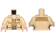 Part No: 973pb3680c01  Name: Torso Female Outline SW Jacket with Resistance Lieutenant Rank Badge and Dark Tan Undershirt Pattern / Tan Arms / Light Nougat Hands