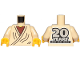 Part No: 973pb3732c01  Name: Torso SW Layered Shirt Old Obi-Wan Yellow Neck with '20 YEARS LEGO STAR WARS' on Back Pattern / Tan Arms / Yellow Hands