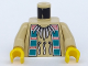 Part No: 973px105c01  Name: Torso Western Indians Necklace and Dark Turquoise Squares Pattern / Tan Arms / Yellow Hands