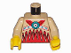 Part No: 973px106c01  Name: Torso Western Indians Red on Bottom and Fringe Pattern / Tan Arms / Yellow Hands