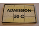 Part No: BA095pb02  Name: Stickered Assembly 4 x 6 x 2/3 with 'ADMISSION 50 C' Pattern (Sticker) - Set 10184 - 1 Plate 4 x 6, 4 Tiles 1 x 6