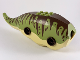 Part No: TriBodyc02pb01  Name: Dinosaur Body Triceratops with Olive Green Top with Dark Brown Stripes and Spots Pattern