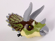 Part No: TriHeadc01pb02  Name: Dino Head Triceratops with Pin, Light Bluish Gray Horns and Beak, Olive Green Top with Dark Brown Pattern