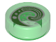 Part No: 98138pb116  Name: Tile, Round 1 x 1 with Bright Green and White Koru Spiral Symbol Pattern