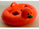 Part No: 28421pb04  Name: Minifigure, Utensil Swim Ring / Floatie Duck Inflatable with Black Eyes and Dark Turquoise Bill Pattern (BAM)