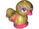 Part No: 35074pb05  Name: Bird, Friends / Elves, Feet Joined with Pearl Gold Body and Lime Eyes Pattern