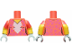 Part No: 973pb3433c01  Name: Torso Female White Blaze, Medium Lavender Rosettes Pattern / Yellow Arms with Coral Short Sleeves, Medium Lavender Rosettes Pattern / Light Aqua Hands