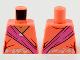 Part No: 973pb4087  Name: Torso Female Sari, Nougat Neck, Dark Pink Sash, Silver and White Flower Filigree Pattern