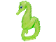 Part No: 51164pb01  Name: Seahorse with Black, Blue and White Eyes Pattern