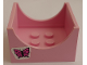 Part No: 4461pb04  Name: Container, Box 4 x 4 x 2 Bottom with Semicircle Cutout Ends with Butterfly Pattern on Both Sides (Stickers) - Set 6547