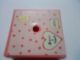 Part No: 33031pb15  Name: Container Box 3.5  x 3.5 x 1.3 with Hinged Lid with White Heart, 2 Yellow Fish, White Rectangle and Salmon Polka Dots Pattern (Sticker) - Set 3211