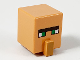 Part No: 23766pb006  Name: Minifigure, Head Modified Cube Tall with Raised Rectangle, Black Unibrow, Green Eyes and Medium Nougat Nose Pattern