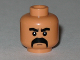 Part No: 3626bpb0381  Name: Minifigure, Head Moustache Black Fu Manchu with Thick Black Eyebrows Pattern - Blocked Open Stud