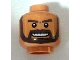 Part No: 3626bpb0384  Name: Minifigure, Head Beard Dark Brown, White Pupils and Grin with Teeth Pattern - Blocked Open Stud