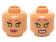 Part No: 3626cpb1363  Name: Minifigure, Head Dual Sided Female Magenta Eyebrows and Lips, Lime Eyes, Smile / Clenched Pattern (Starfire) - Hollow Stud