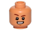 Part No: 3626cpb1674  Name: Minifigure, Head Brown Eyebrows, Raised Right Eyebrow, Chin Dimple, Smile with Teeth Pattern (SW Rowan) - Hollow Stud