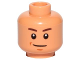 Part No: 3626cpb1675  Name: Minifigure, Head Brown Eyebrows, Chin Dimple, Smile Pattern (SW Zander) - Hollow Stud