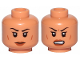 Part No: 3626cpb2286  Name: Minifigure, Head Dual Sided Female, Black Eyebrows, Dark Orange Lips, Cheeks Lines, Neutral / Angry Pattern - Hollow Stud