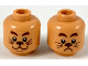 Part No: 3626cpb2320  Name: Minifigure, Head Dual Sided, Reddish Brown Eyebrows, Dark Brown Nose and Whiskers, Smiling / Scared Pattern - Hollow Stud