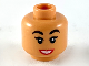 Part No: 3626cpb2369  Name: Minifigure, Head Female, Black Eyebrows, Red Lips, White Teeth Smile Pattern - Hollow Stud