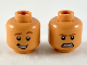 Part No: 3626cpb2370  Name: Minifigure, Head Dual Sided Dark Orange Eyebrows and Chin Contour, Smile / Fierce Pattern - Hollow Stud