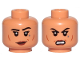 Part No: 3626cpb2488  Name: Minifigure, Head Dual Sided Female Dark Red Lips, Black Eyebrows, Cheek Lines, Dark Bluish Gray Tattoo, Smile / Angry Pattern - Hollow Stud