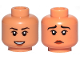 Part No: 3626cpb2624  Name: Minifigure, Head Dual Sided Female, Black Eyebrows, Reddish Brown Lips, Open Mouth Smile / Sad Pattern - Hollow Stud