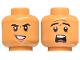Part No: 3626cpb2639  Name: Minifigure, Head Dual Sided Black Eyebrows, Dark Orange Furrows, Evil Smile / Scared Pattern - Hollow Stud