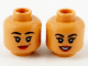 Part No: 3626cpb2706  Name: Minifigure, Head Dual Side Female, Black Eyebrows, Gold Bindi, Red Lips, Lopsided Grin / Open Smile Pattern Hollow Stud