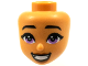 Part No: 69674  Name: Mini Doll, Head Friends with Black Eyebrows, Medium Lavender Eyes, Dark Orange Lips and Open Smile Pattern