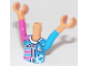 Part No: FTGpb198c01  Name: Mini Doll, Torso Friends Girl Dark Pink and Dark Azure Racing Jacket Pattern, Nougat Arms with Hands with Dark Pink Right Sleeve, Dark Azure Left Sleeve